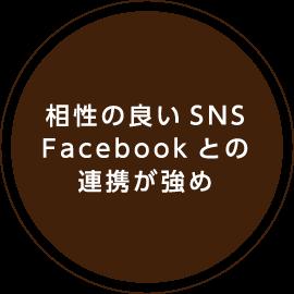 相性の良いSNSFacebookとの連携が強め