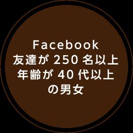 Facebook友達が250名以上年齢が40代以上の男女